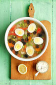 Chcicken and egg terine with vegetables