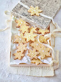 Snowflake cookies in a decorative box
