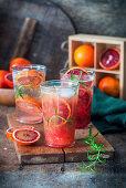 Blood orange lemonade in glasses