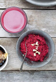 Beetroot pesto with almonds, Parmesan cheese and garlic