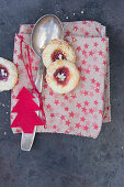 Jam cookies on a star cloth