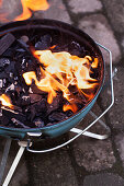 Burning BBQ fire