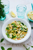 Couscous salad with vegetables and peppermint