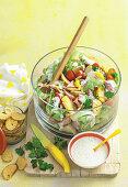 Potato, ham and crouton salad