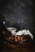 Home-made chocolate truffles with hemp oil