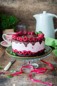 Chocolate raspberry souffle cake