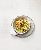 Tabbouleh made from cauliflower with cucumber and chicken breast (no carb)