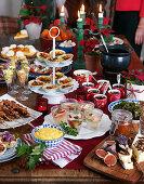 Christmas buffet: cheeseplate, chicken skewers, cheesepies, chickenpies, cheviche, cheesecake
