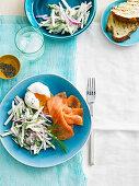 Smoked Salmon, apple, dill and poached egg salad