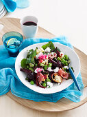 Broad bean, baby beet and goat's cheese salad
