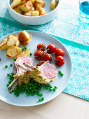 Lamb rach with sourdogh, lemon and herb crust