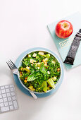 Edamame and chickpea power salad with avocado lime dressing