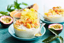 Creamy lemon rice with tropical salsa