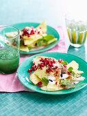Pineapple carpaccio, pomegranate and yogurt