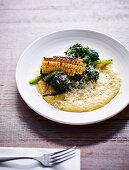 Corn and broccolini, with polenta