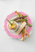 Soft-boiled egg with asparagus and ham and cheese toast