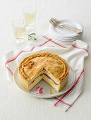 Fragone (spicy ricotta cake with salami and egg, Italy)