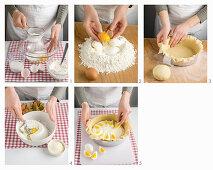 Italian ricotta cake being made