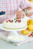 Mango and coconut pudding cake