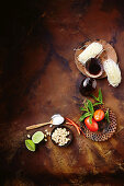 Ingredients for Thai seafood and glass noodle salad