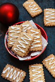 Rectangular gingerbread biscuits with icing
