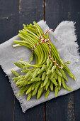 Hops asparagus on cloth
