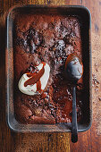 Cacao and spelt self-saucing pudding