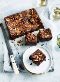 Choc malt and almond brownies