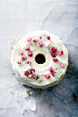 White christmas angel cake with rose and prosecco syrup