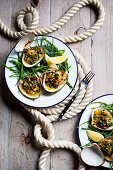 Barbecued clams with almond and parsley butter