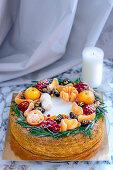 Christmas cake with mandarins