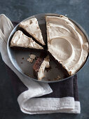 Chocolate cake with a coffee meringue topping