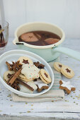 Various biscuits and mulled wine