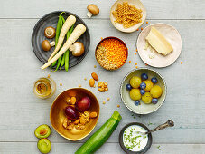 Ingredients for low-carb vegetarian cuisine