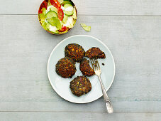 Lentil fritters served with a summer salad