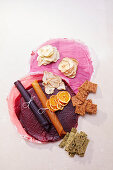 Dried fruit slices, strawberry and mango fruit leather, kale crackers and tomato and pepper crackers made in a dehydrator