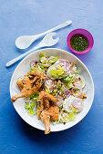 Mayo-roasted chicken with Waldorf salad and tarragon