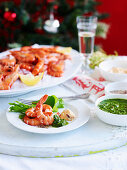Prawns with trio of confiments