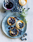 Blueberry and lemon verbena tarts