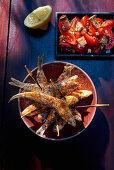 Paprika sardines with tomato salad