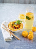 Red lentil and carrot cream and lemon and orange blossom water