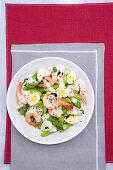 Vegetable salad with egg, prawns and balsamic vinegar