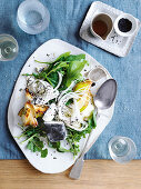 Daikon salad with honey, goat's cheese and pears