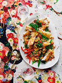 Rolled rice noodles with chilli crispy tofu