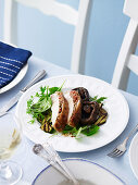 Barbecued Butterflied Turkey with Vegetable Salad