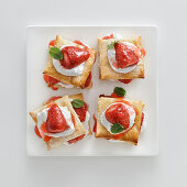 Millefeuilles with strawberries and whipped cream