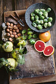 Walnuts, pink grapefruits, quinces and Brussels sprouts