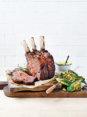 Beef rib with grilled lettuce and citrus butter