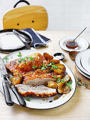 Pork belly with apples and pears