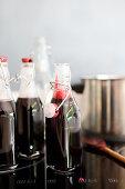 Elderberry juice in bottles